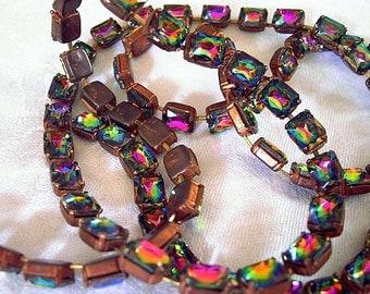 Vintage 8x10mm Iridis Glass Stone Chain