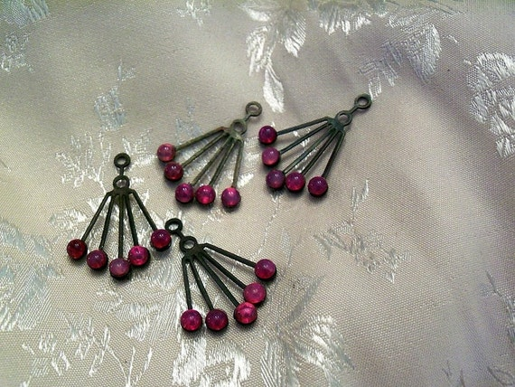 4 Vintage Red Opal Glass Dangles