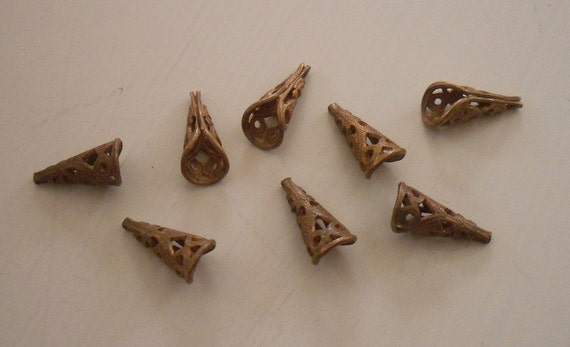 Small And Dainty Vintage Filigree Cone Bead Caps