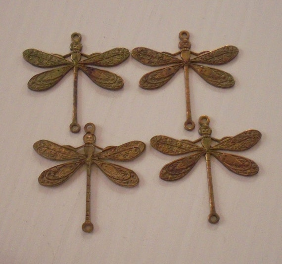 Vintage Brass Dragonfly Findings
