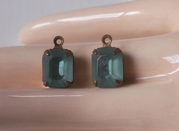 Vintage Matte Aqua Glass Stones Oxidized Brass Mounted West Germany Glass Stones Dangles