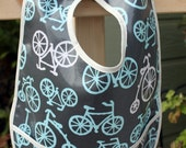 TODDLER BIB with Crumb Catcher Pocket, Bicycles. Boy Bib. BPA Free. Wipeable and Washable.