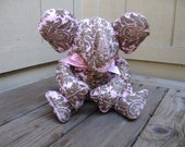 Stuffed Elephant in pink and chocolate damask