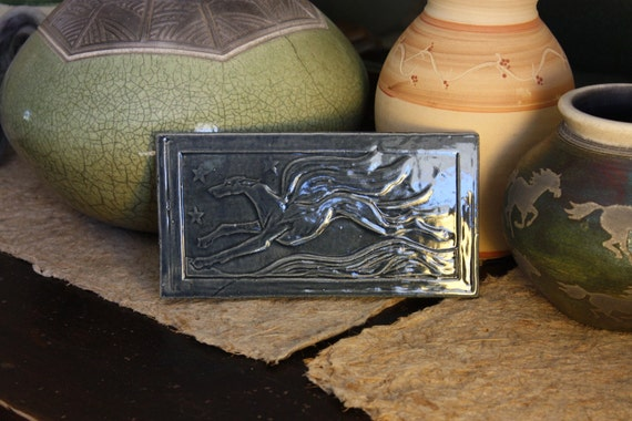 4x8 inch tile with winged greyhound whippet in blue glaze
