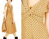 Vintage 1940s EAMES ERA ATOMIC Print TAN Cross and Buckle Dress S/M