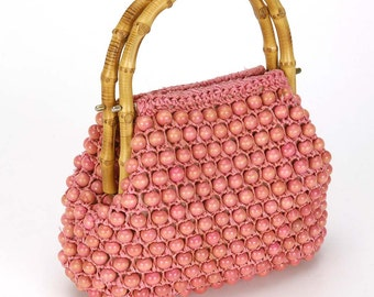 Vintage Japanese PINK BAMBOO Wooden Beads Purse