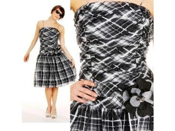 Vintage 1980s Rimini PLAID CRINOLINE Party Dress XS/S