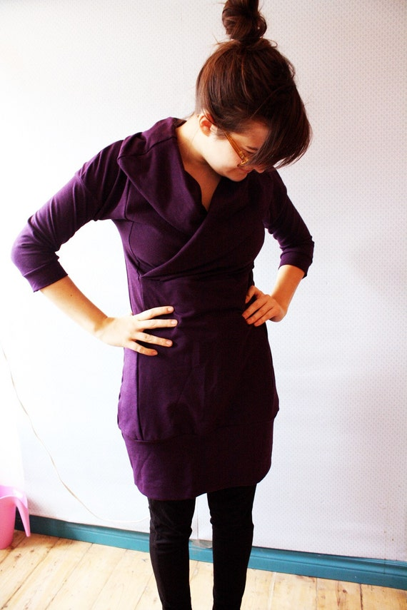 on sale // Ready To Ship // Bamboo Purple Cowl Dress / by Replicca / size Medium