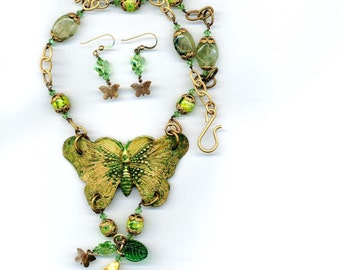 Brass Butterfly with Prehnite and Glass Beads set