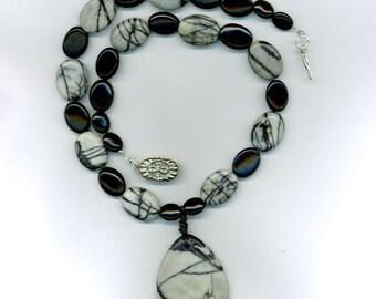 Black Webbed Jasper and Black Onyx Necklace set