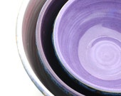 Set of Three Nesting Bowls Textured Blue and Purples