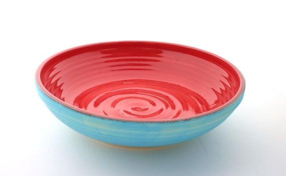 Shallow Serving Bowl Matte Blue and Scarlet