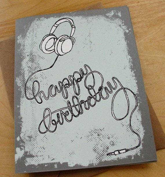 birthday card - headphones