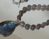Gorgeous blue labradorite pendant necklace