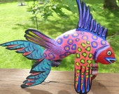 Fish Carving by Efrain Fuentes - Mexican Folkart from Oaxaca - Pink or Purple lavender