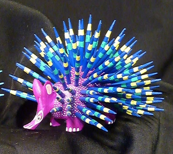 Small Porcupine Oaxacan Woodcarvings from Fuentes Family - purple