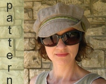 Linen Flip Brim Newsboy Hat  Sewing Pattern