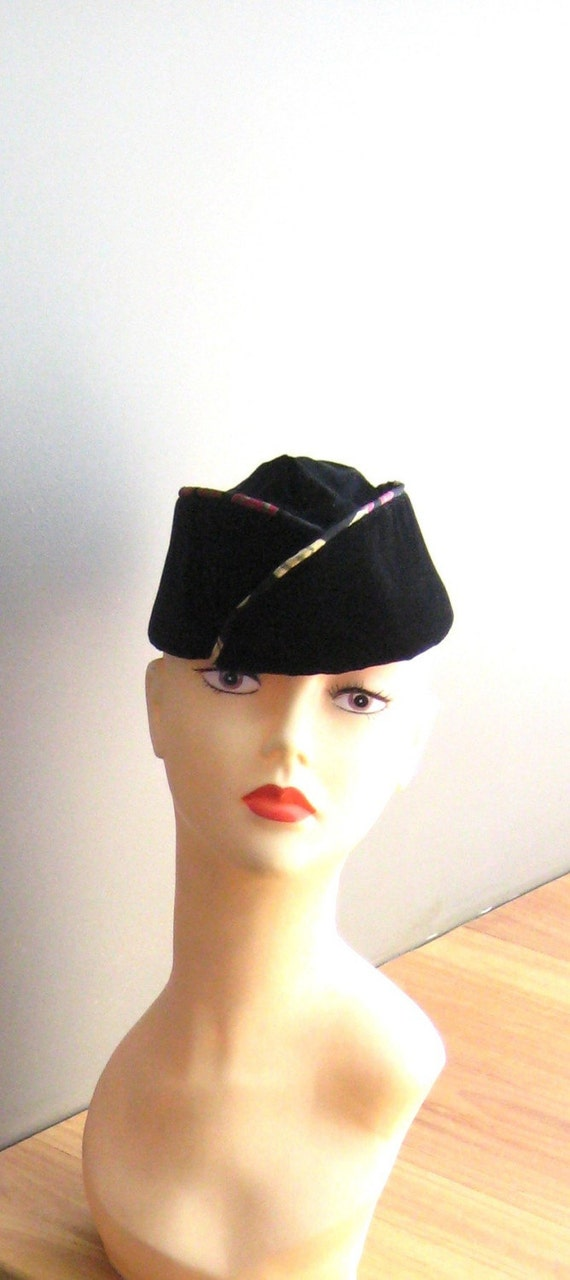 Hat Army Style PURE VELVET and SILK Trim Womens Army Corp Style WAC HAT