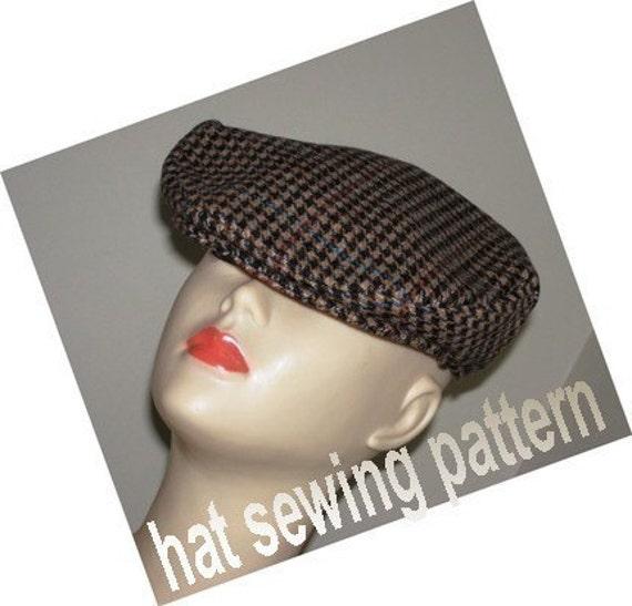 Flat cap driving hat ivy cap medium size SEWING PATTERN- Micky Flat Driving Cap