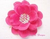 Baby Girl Hair Bow Flower / ADDISON Shocking Pink  Sequin Flower Hair Clip Or U Pick