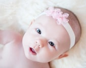 TWO Baby Headbands Newborn Headband.Baby Girl Headband.Baby Bow Headbands /  FINLEY Flower Headband You Pick Pink Ivory White Sage Silver