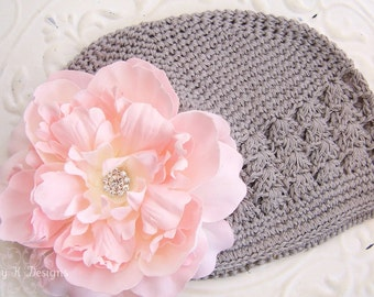 Baby Beanie / Toddler Beanie / Girls Large Peachy Pink HANNAH Peony Flower Beanie / Girls Hat / Baby hat / Newborn Hat 2 Sizes
