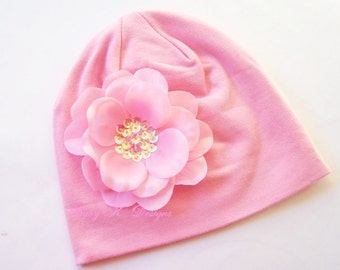 Infant Beanie / Newborn Beanie/ Coming Home Hat / Perfect Pink Sequin Flower Beanie/ Portait Hat Two Sizes Several Colors