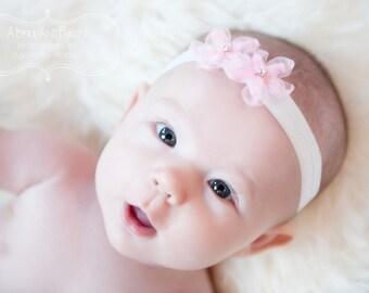 Baby Girl Headband. Newborn Headband. Infant Headband. Pink Flower Headband. Newborn Pink Bow Headband. Pink Baby Headband. Bow Headband