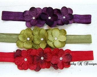 Baby Headband / Girls Headband / Newborn Headband / ONE Flower headband / HARPER Triple Flower Headband  Green