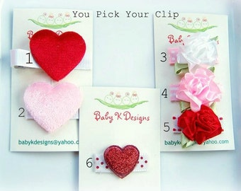 Red Hearts / Infant Clips / Baby Bow / Baby Snap Clips / Newborn Baby Girls Heart Bows / No Slip Hair Clips VALENTINE / VALENTINES Bows