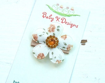 Baby Bow/ Baby Snap Clips / Itty Bitty Clips / Infant Clips / Girls Bows / Hair Clip / Shabby Chic Jeweled  Flower Clip in Brown Tones