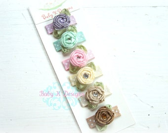 Infant Clips / Baby Snap Clips / Girls PIPPA Six Pack of Rolled Satin Flower Pink Yellow Lilac Beige Brown / Baby Hair Clip