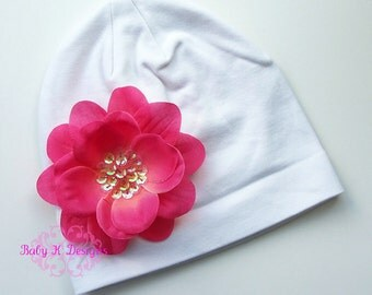 Newborn Beanie / Baby Beanie / Girls Hat / Infant Beanie / Light  Fuchsia ADDISON flower and White Cotton Beanie TWO SIZES
