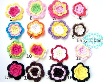 SALE Girls Handmade Crochet Flower Hair Clips Two Sizes  Baby Snap Barrette or Alligator Hair Clip Many Colors You Pick #babykdesigns