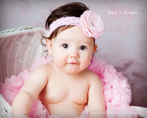 SAVE 15% Baby Newborn Girl Soft Lace Headband / Parisian Pink Ivory White Blue Yellow Rosette Flower / Headband or Hair Clip MORE COLORS