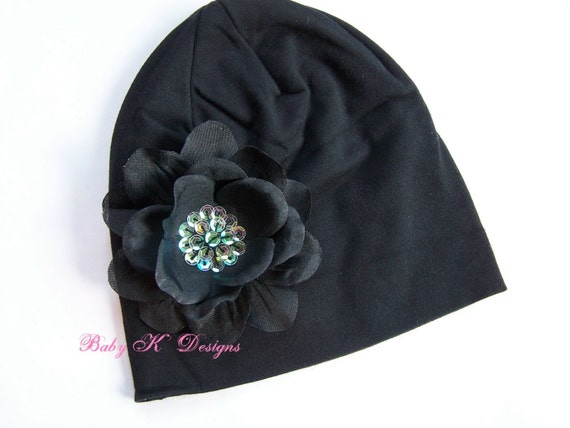 Baby Beanie / Infant Beanie / Newborn Beanie / Girls Black ADDISON Sequin Flower Cotton Beanie Hat Infants Baby Toddler Two Sizes