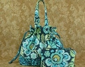 Sock Knitting Bag with Blue Flowers and a Zippered Accessory Bag