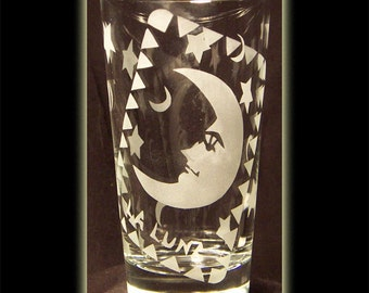 Loteria Card Mexican Art La Luna Juice Glass