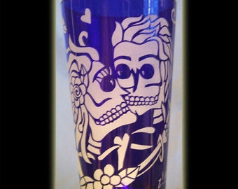 Skeleton Love Cobalt Pint Beer Glass