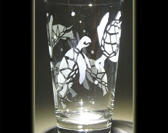 Hawaii Turtle Honu Pint Beer Glass Sandblasted