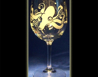 Pair Of Octopus Wine Glasses