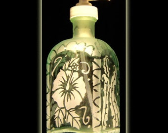 Tropical garden recycled glass sandblasted soap dispenser