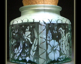 Tropical Flower Garden Square Corked Jar