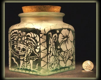 Day Of The Dead Art Skeleton Catrina Calavera Square Corked Jar