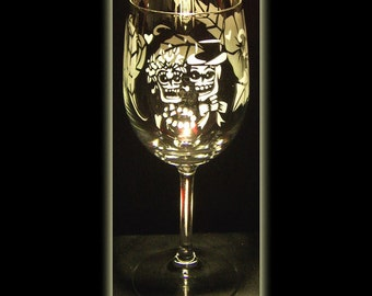 Day Of The Dead Skeleton Wedding Wine Glass Sandblasted