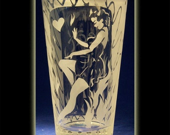 Pin Up Devil Girl Pint Beer Glass