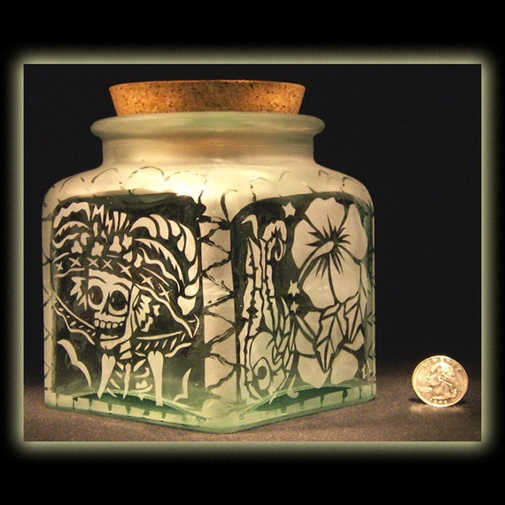 Day Of The Dead Art Skeleton Catrina Calavera Square Corked Jar