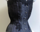 "Black silk brocade lace overbust corset, steel boned 23"" waist"