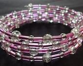 Girls memory wire bracelet in Pink (10% to National Brain Tumor Society 2015 walk)