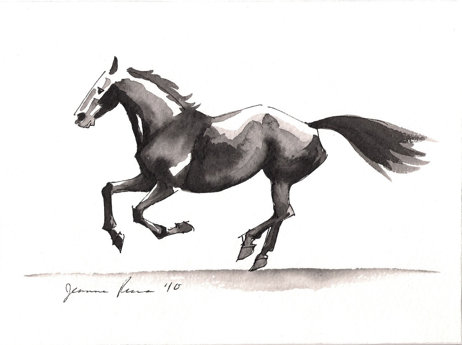 Running Horse Watercolor Sketch